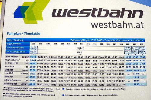 Westbahn-junien aikataulut Wien-Linz-Salzburg