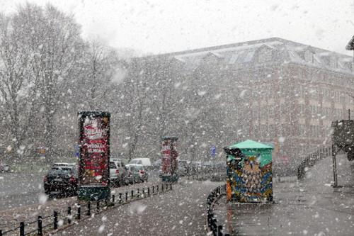 Lunta sataa toukokuussa Helsingissä