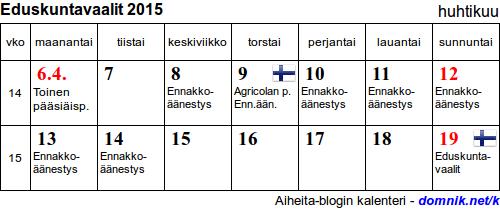 Eduskuntavaalit 2015 pidetään su 19. huhtikuuta