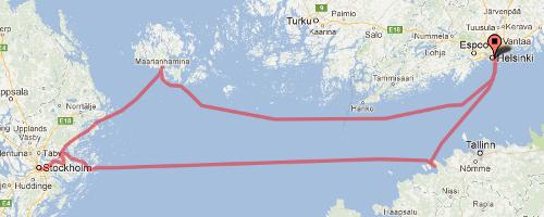 Kartta: Helsinki-Paldiski/Maarianhamina-Tukholma