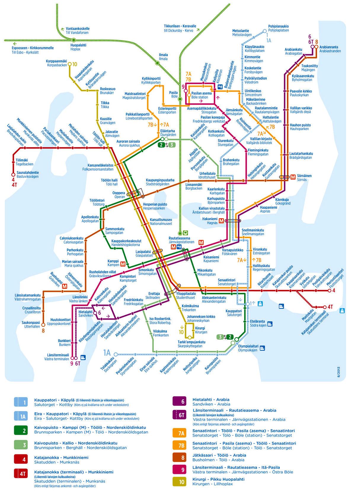 Helsingin Raitiovaunukartta 2014 Aiheet