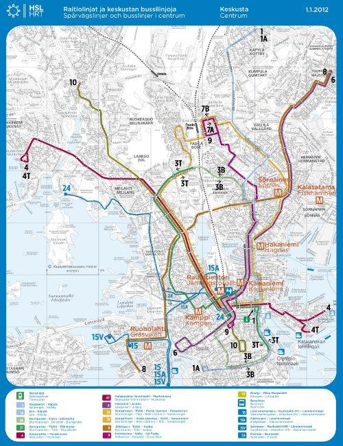 Helsingin raitiovaunukartta 2012 sekä bussit 15 ja 24
