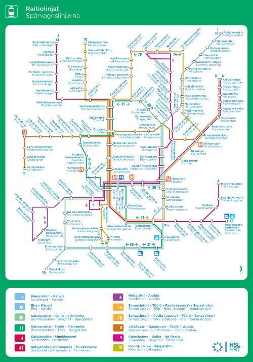 Helsingin raitiovaunukartta 2012 ja pysäkit nimineen