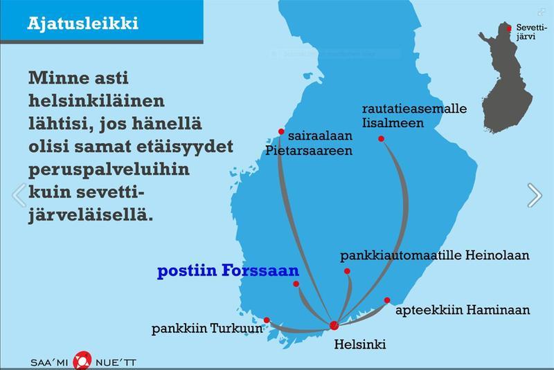 Sevettijärvi, etäisyydet (fake)