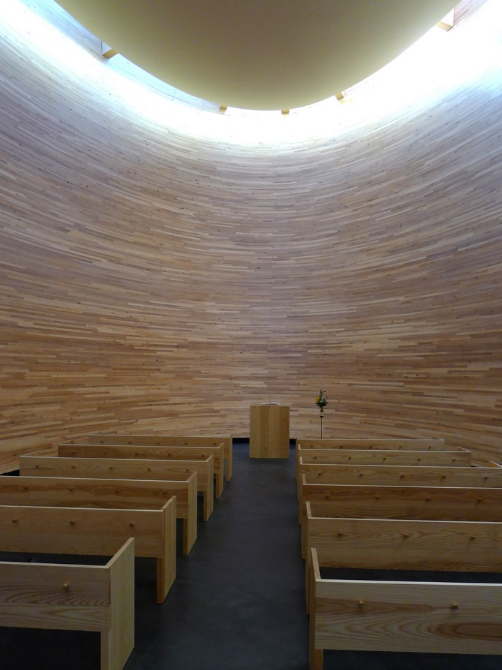 The altar, benches and roof windows