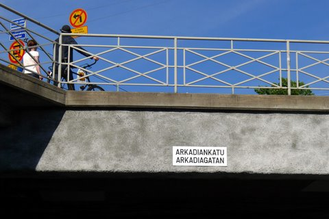 Names of streets are written on the bridges (Arkadiankatu)