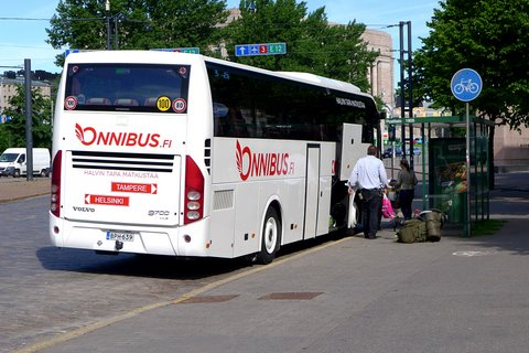 Departure of Onnibus to Tampere from the Main Post Office stop in Helsinki