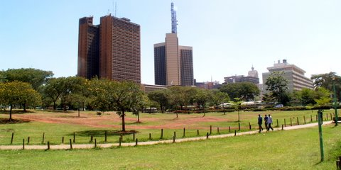 Nairobi buildings and Uhuru Park
