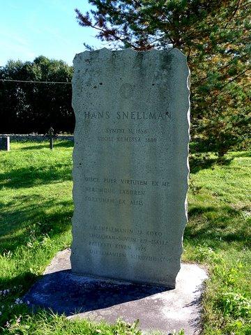 Tombe de Hans Snellman, l'ancêtre de la famille Snellman
