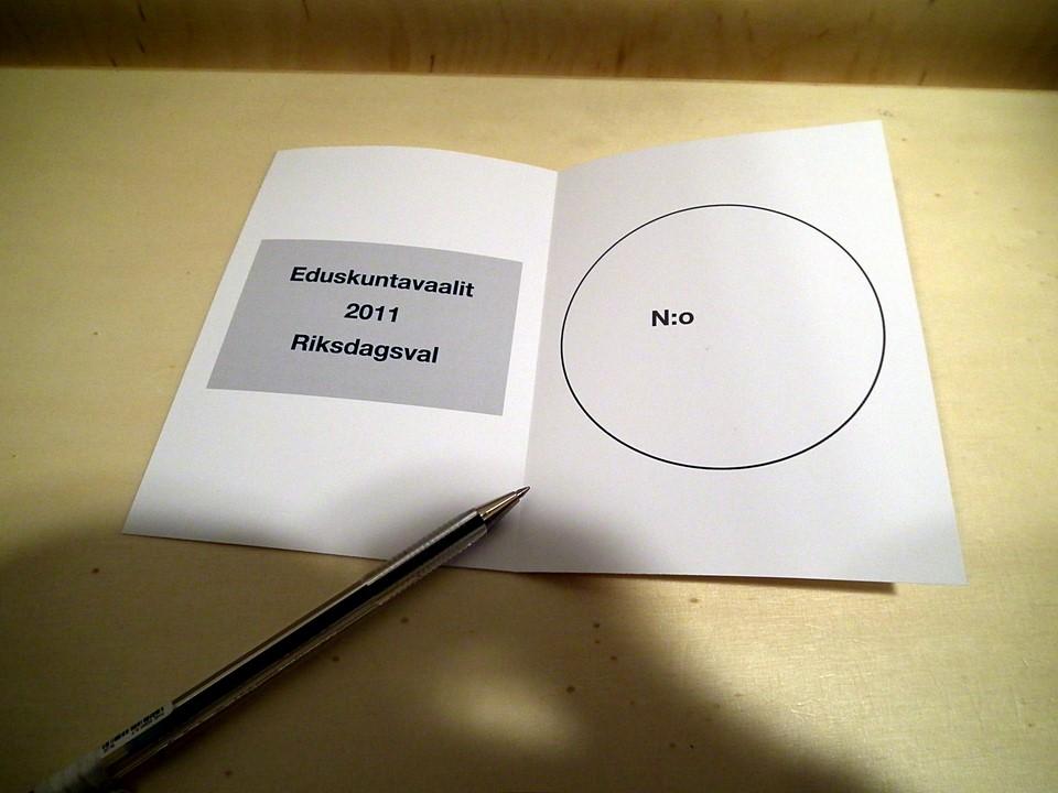 Eduskuntavaalit 2011: äänestyslippu