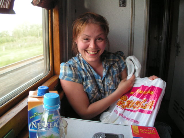 Hanne in the train