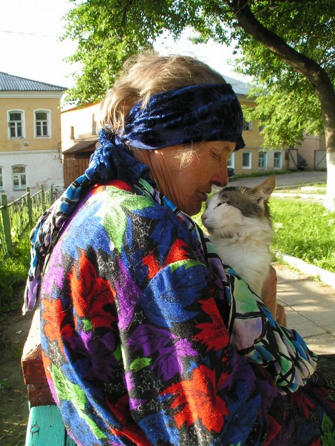 Old lady with a cat
