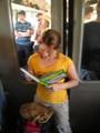 Hanne in the train