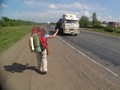 Hanne hitchhiking