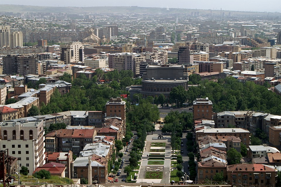 Yerevan city centre (Opera Theatre in the middle)