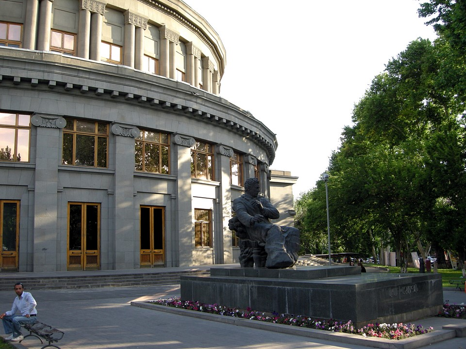 Opera Theatre and the statue of Aram Khachaturian