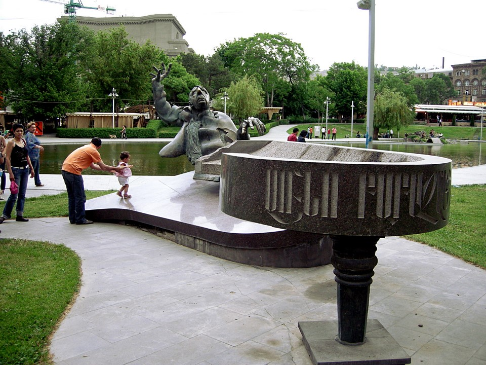 Statue of pianist Arno Babajanian in the Opera Park