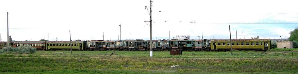 Abandoned railway cars