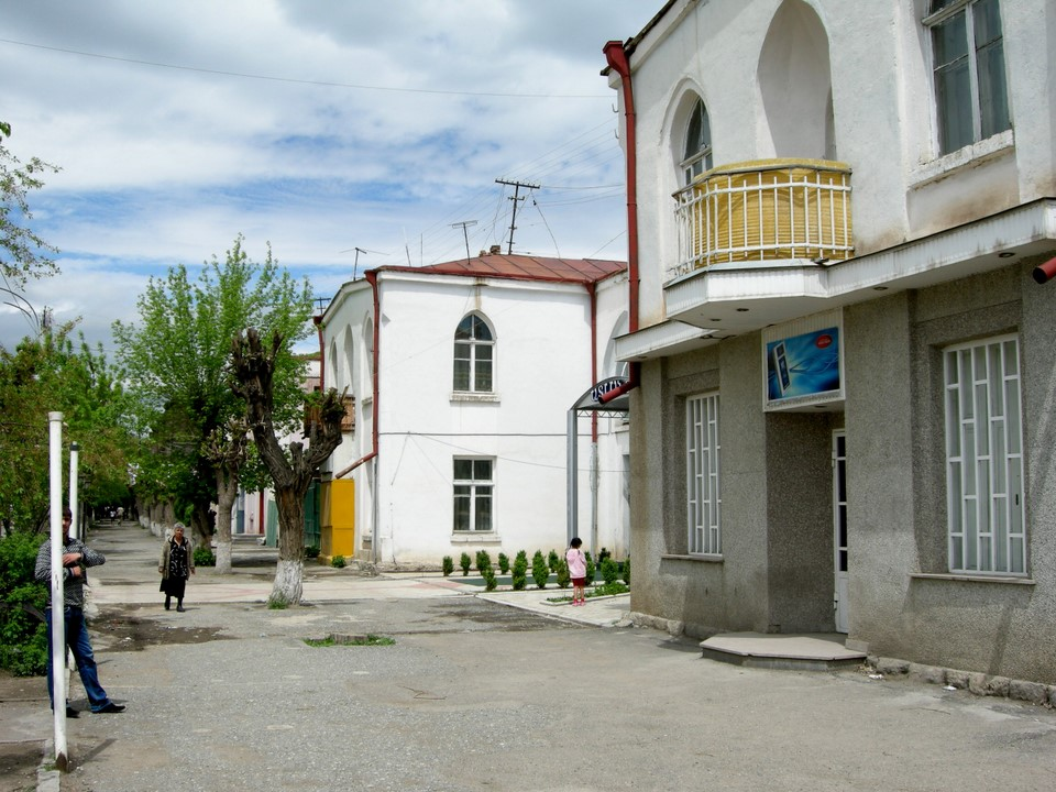 Pedestrian sidewalk and houses in Gyumri