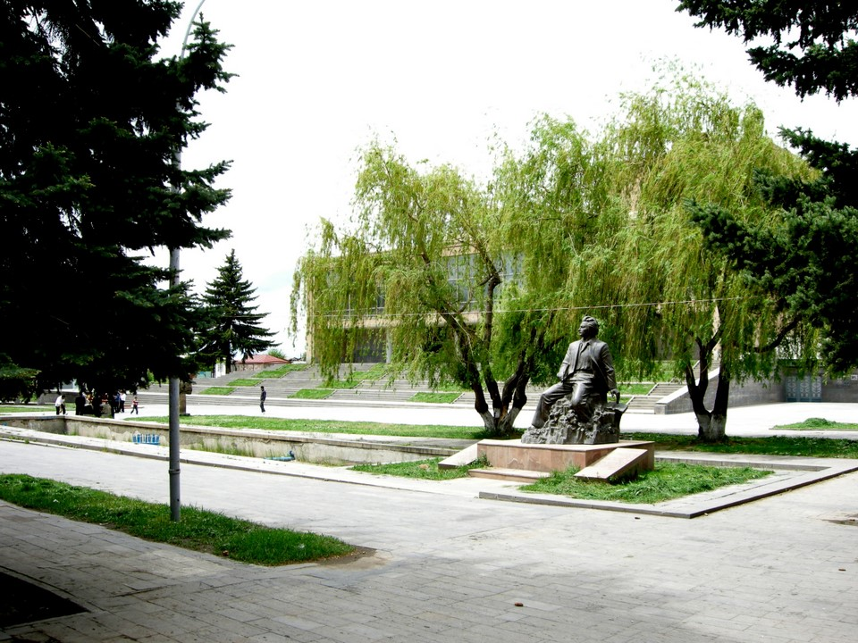 A statue in front of Gyumri Theatre