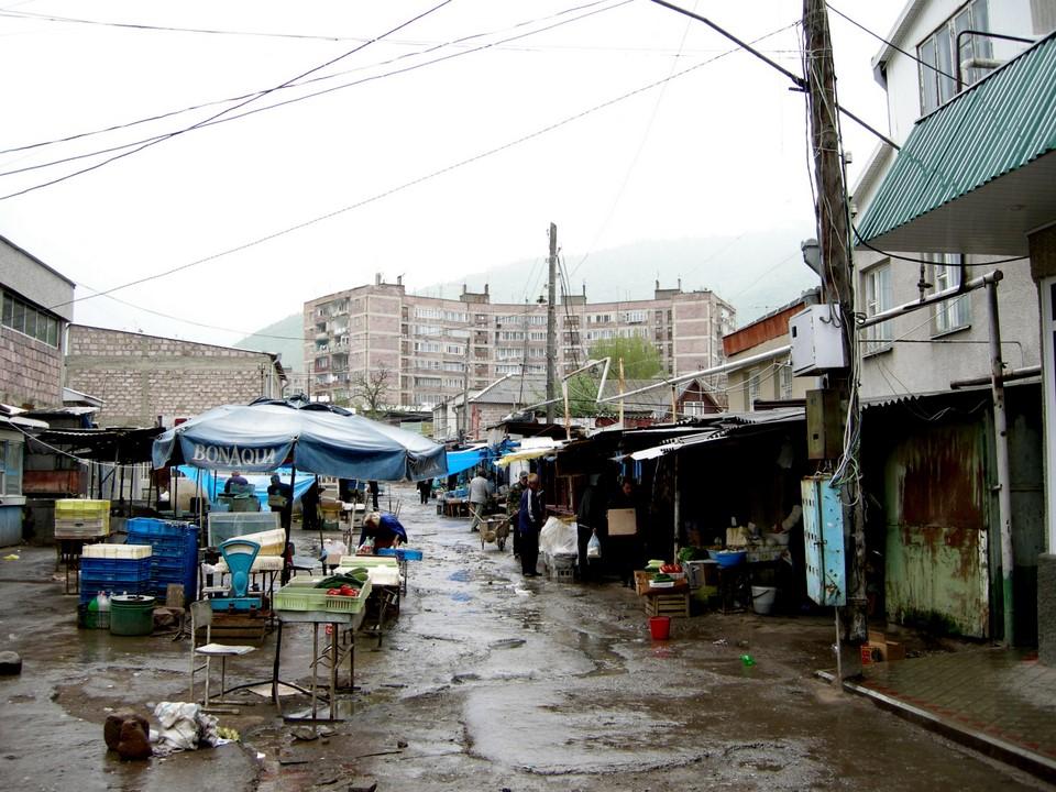 Vanadzor market square was slippery in rain