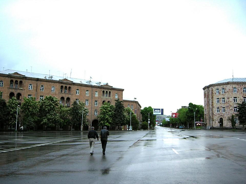 The rainy main square of Vanadzor is called Hayk Hraparak