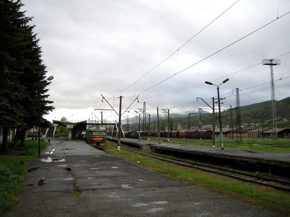 Train to Alaverdi is about to leave from Vanadzor railway station
