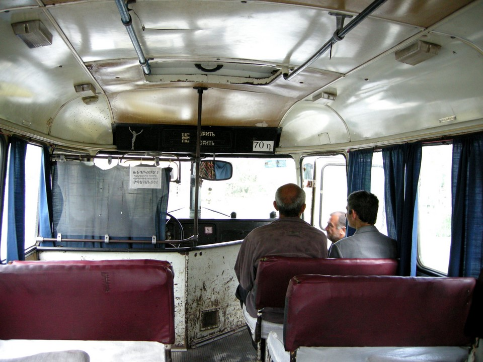Local bus from Alaverdi railway station to Sanahin village