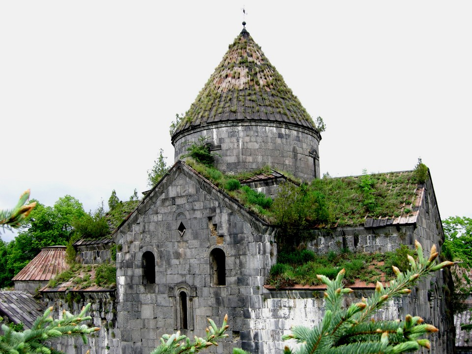 Roof of the church is covered by vegetation