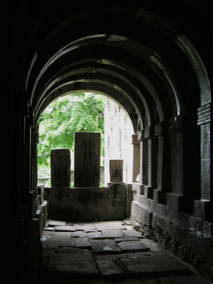 Khachkars in the end of a gallery
