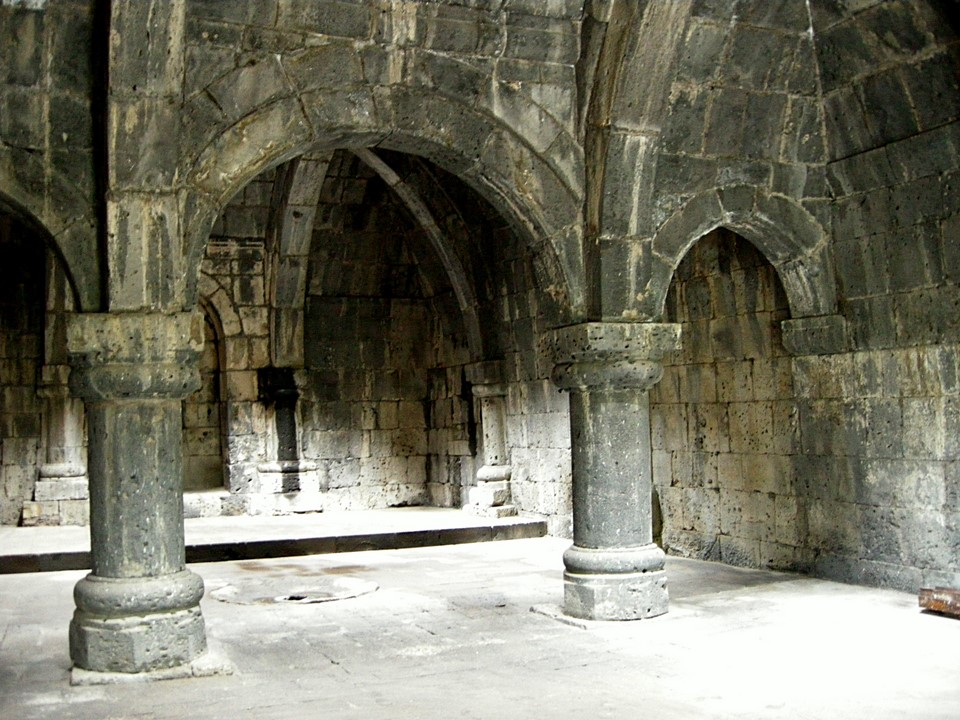 Interior view of the Haghpat monastery refectory