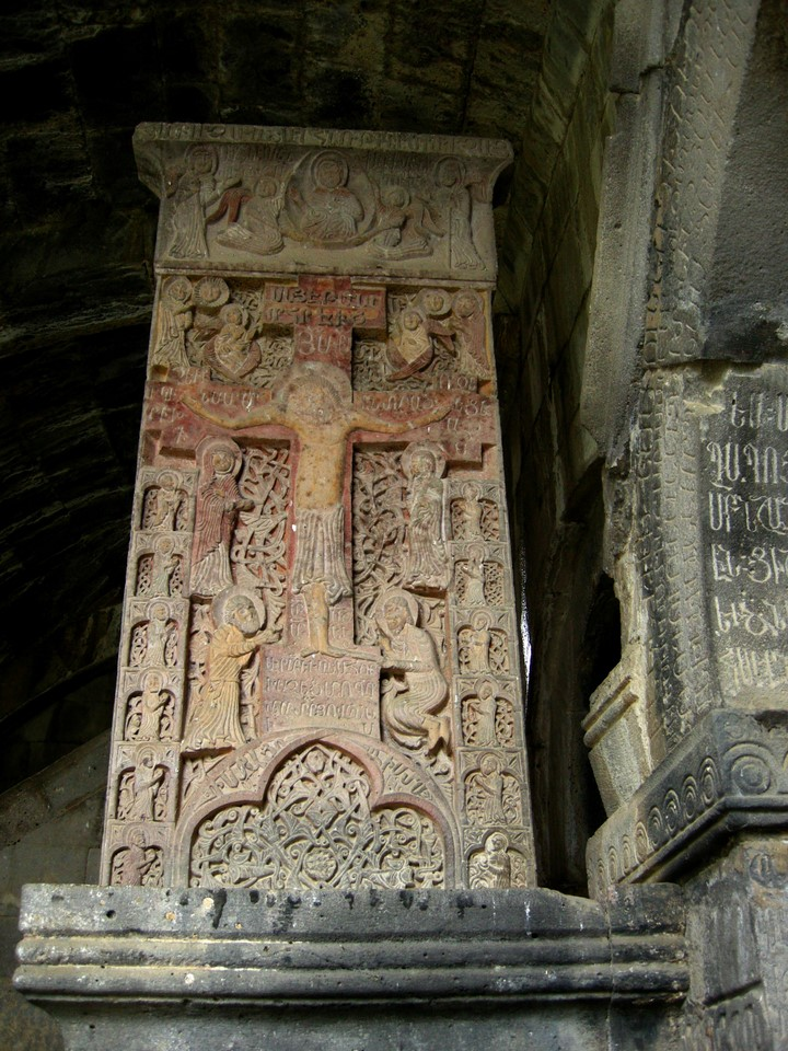 The most well known khachkar of Haghpat has not only cross but also the Christ and other people depicted on it which is not usual to khachkars