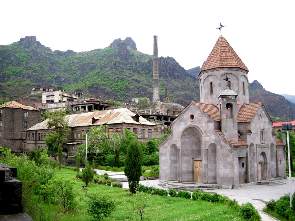 Alaverdi church with industrial buildings in the background