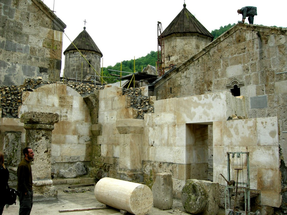 New wall and new pillars are constructed to rebuild the destroyed parts of the monastery