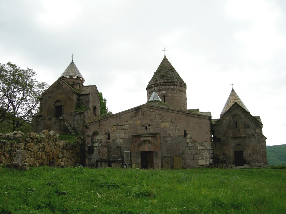 On the left the belltower and library, in the middle St Astvatsatsin Church, on the right the Church of St Gregory the Illuminator