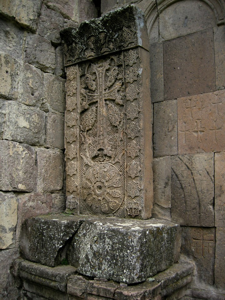 The famous 'Needlecarved' or Aseghnagorts khachkar made by artist Poghos in 1291