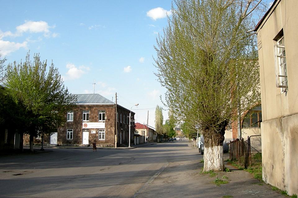 Street, houses, trees
