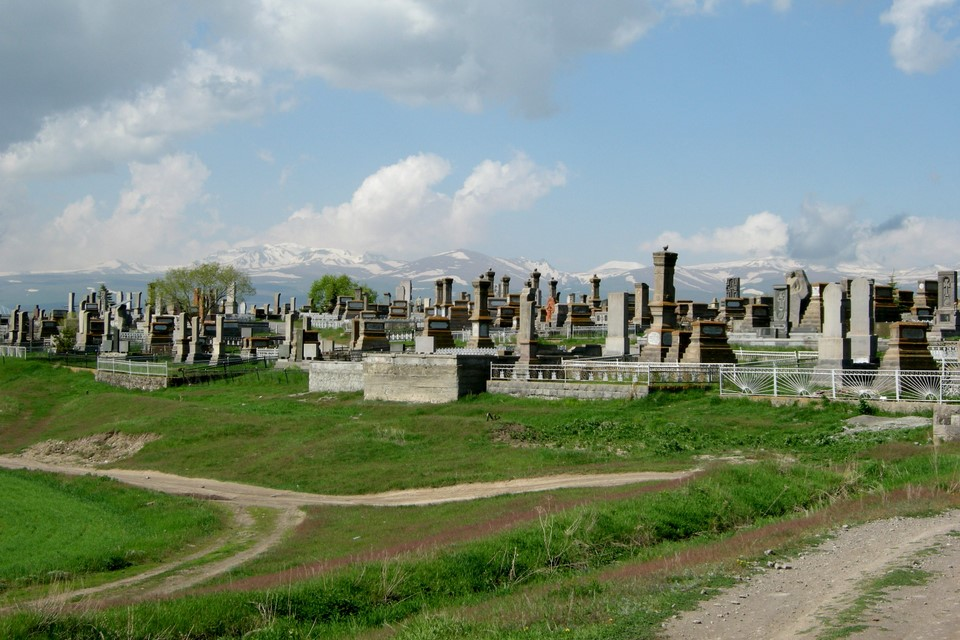 Geghama Mountain Range as seen behind the cemetery