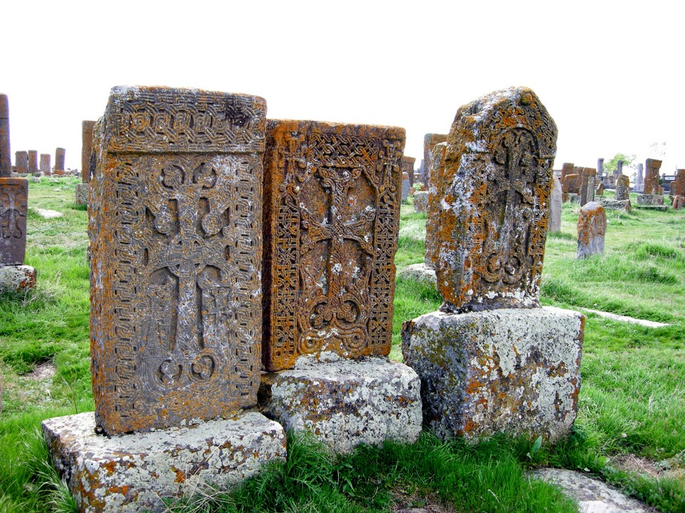 Three khachkars