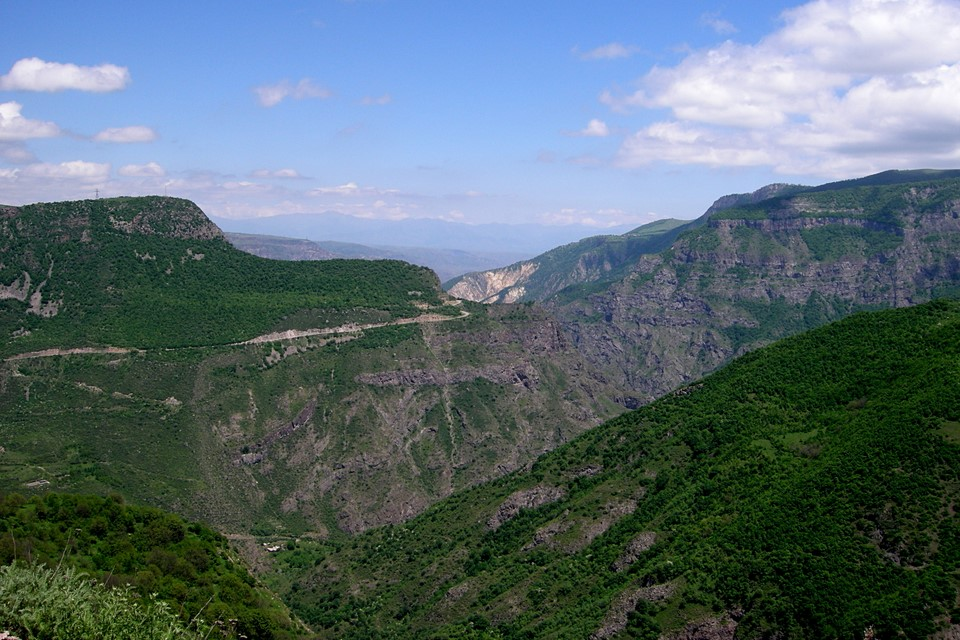 Views from the monastery to Vorotan river valley