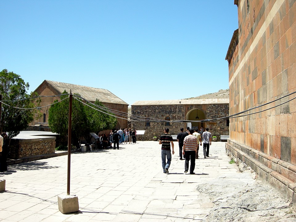 People at the monastery yard