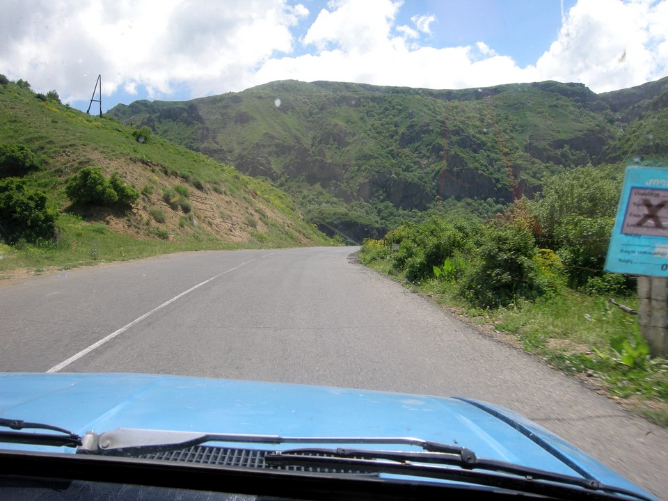 We got a ride with blue Lada from Garni to Geghard