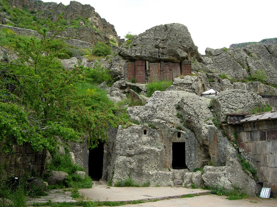 Khachkar stones above cave rooms' entrance