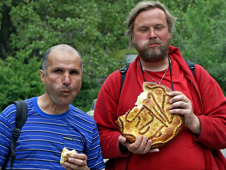Eduardo and Niko having sweet Armenian gata bread