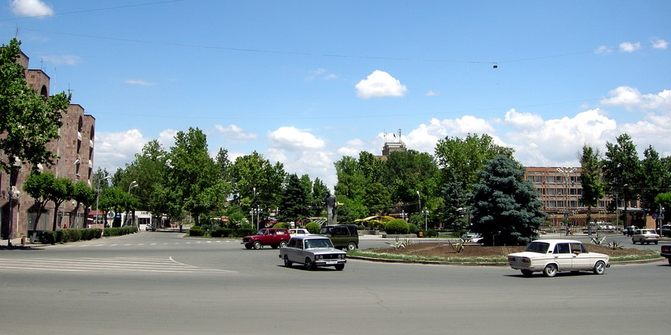 Lada cars in a traffic roundabout