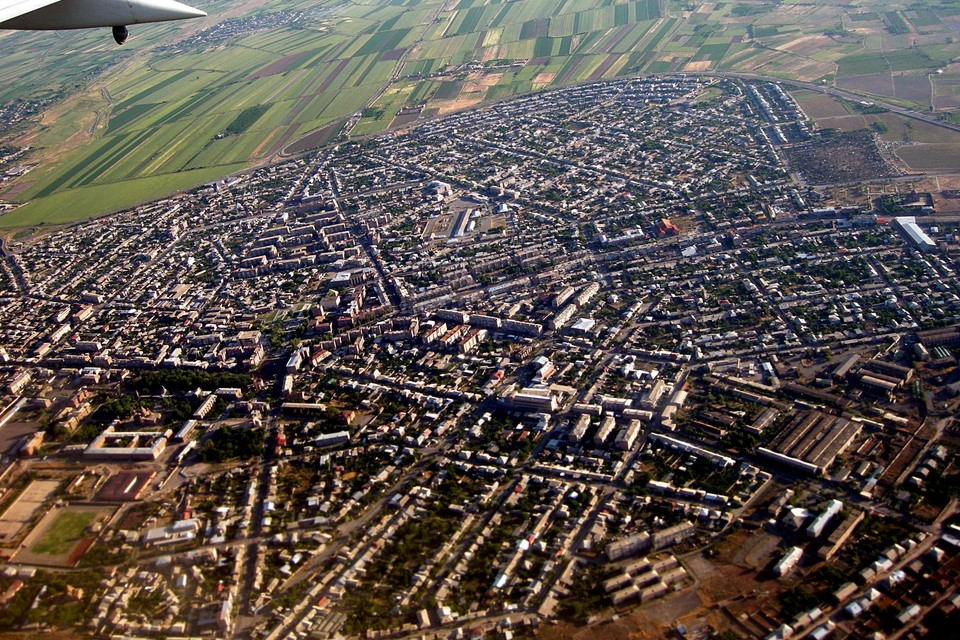 Etchmiadzin (Vagharshapat) as seen from the air