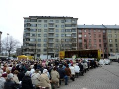 Open air mass at Töölö market square