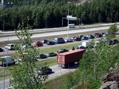 Traffic congestion on Helsinki-Lahti highway in Vantaa