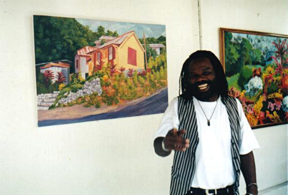 Earl Etienne at his art gallery in Roseau