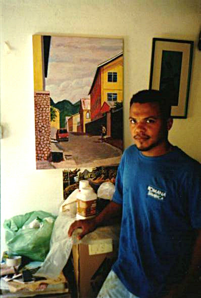 Ellingworth Moses at his atelier in Stowe, Dominica